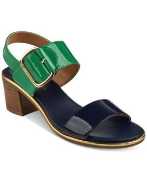39a29f83205e Tommy Hilfiger Katz Block-Heel Dress Sandals Women s Shoes In Navy Green