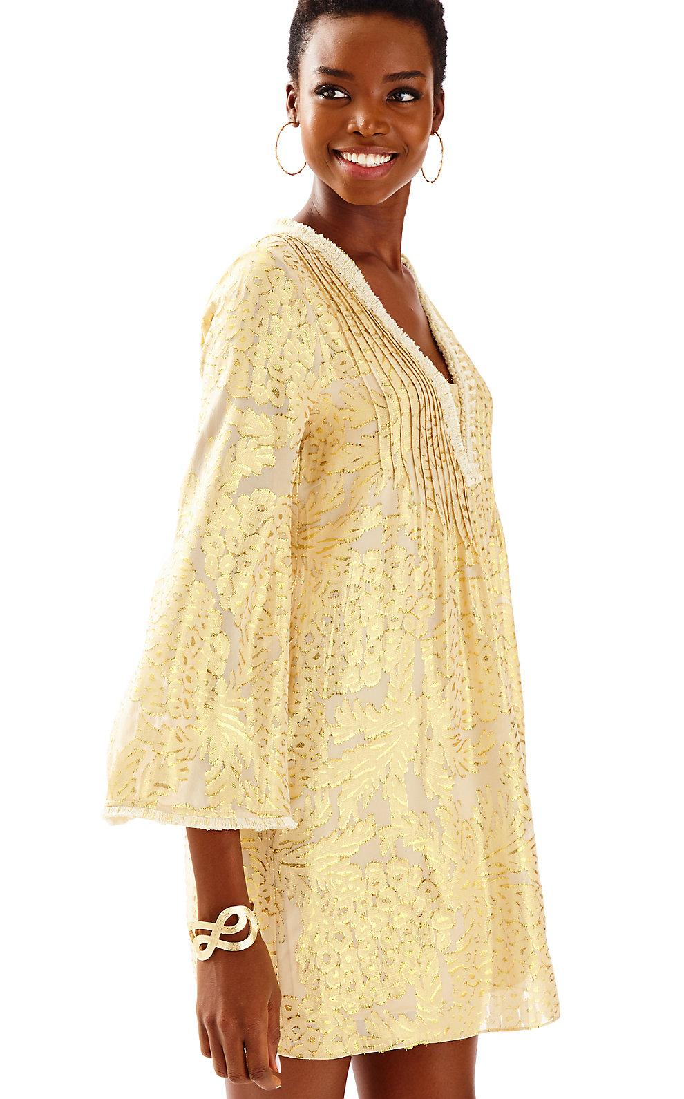 b813d3e94c400d Lilly Pulitzer Colby Silk Tunic Dress In Sand Bar Pineapple Clip Chiffon