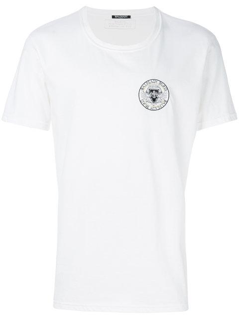 6d1402c8 Balmain White Cotton Tshirt With Rounded Logo | ModeSens