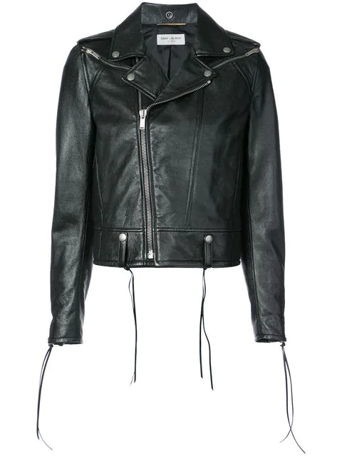 Saint Laurent Lace-Up Motorcycle Leather Jacket In Black