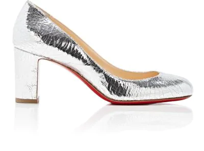 new product 4d312 cfe51 Cadrilla Craquelé Leather Pumps in Silver