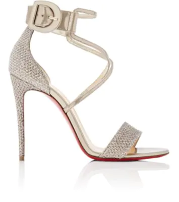 957f3819f8d8 Christian Louboutin Choca Leather   Glitter Sandals In Colombe. SIZE   FIT  INFORMATION