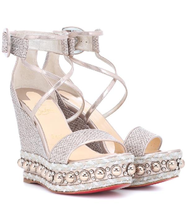 65fa7f2e6f9 Christian Louboutin Chocazeppa Glitter Mesh Platform-Wedge Sandals -  Version Colombe
