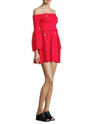 31c31f4311cf11 Free People Counting Daisies Embroidered Off-The-Shoulder Mini Dress In Red  Combo