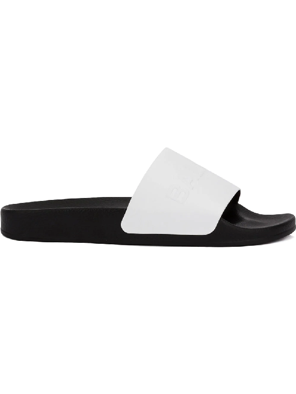 26c3f091 Balmain White Leather Calypso Men's Slide Sandals In 100 White ...