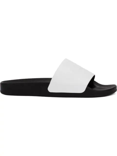 Balmain White Leather Calypso Men's Slide Sandals