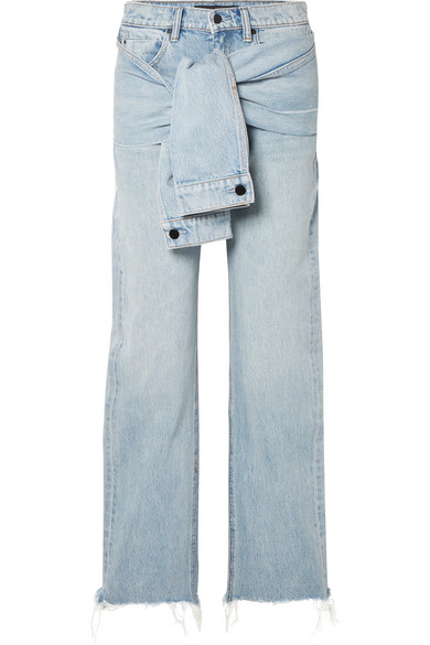T By Alexander Wang Stack Tie Tie-Front Distressed High-Rise Straight-Leg Jeans In Light Denim