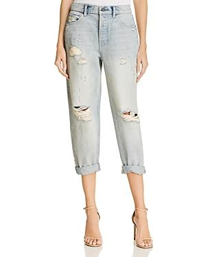 T By Alexander Wang Distressed Boyfriend Jeans In Vintage Bleach