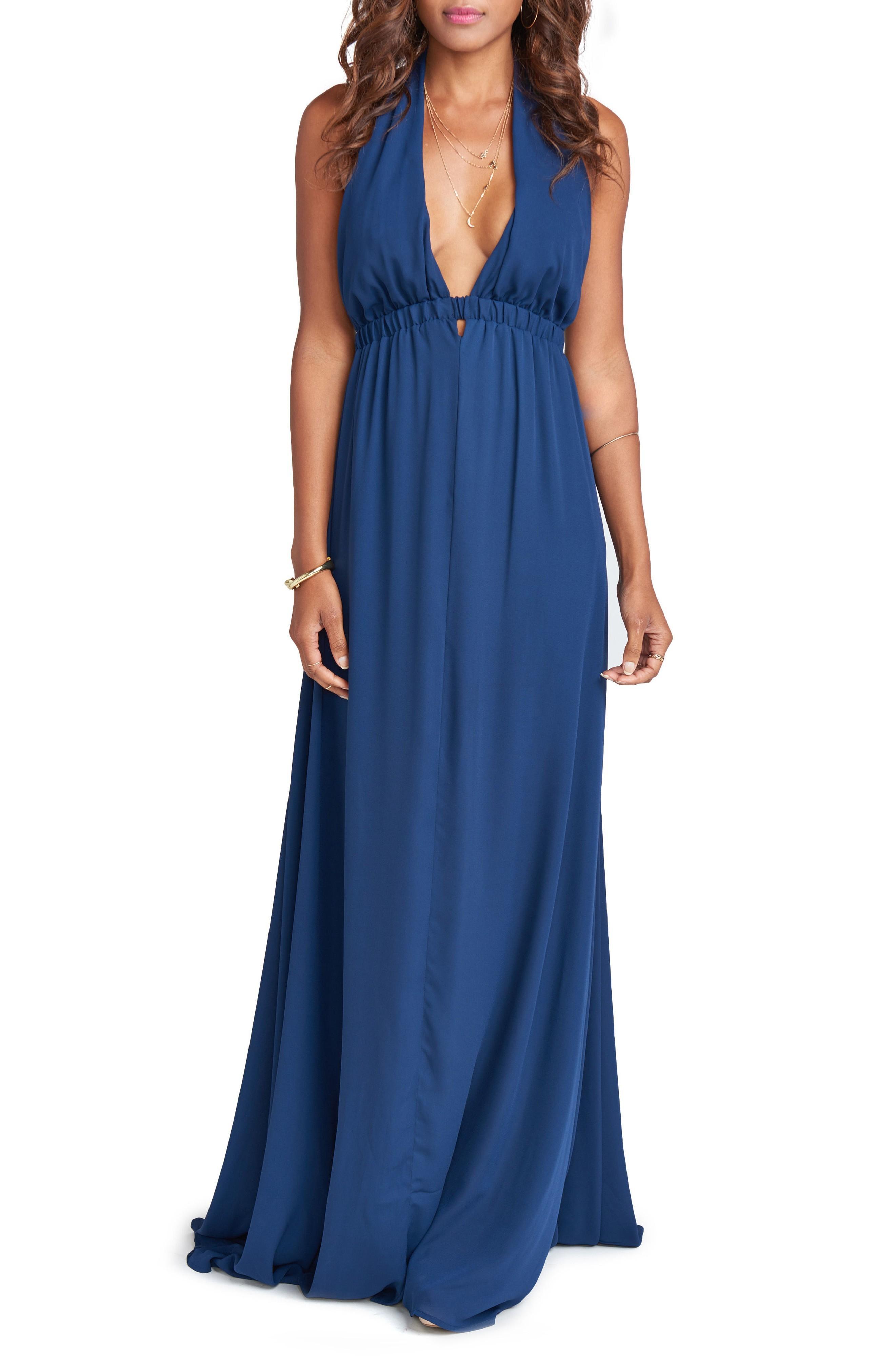 3ed775e8e Show Me Your Mumu Luna Halter Gown In Rich Navy | ModeSens