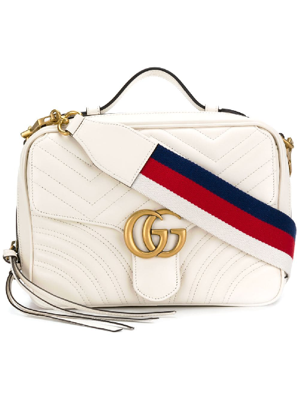 Gucci Gg Marmont White Leather Shoulder Bag