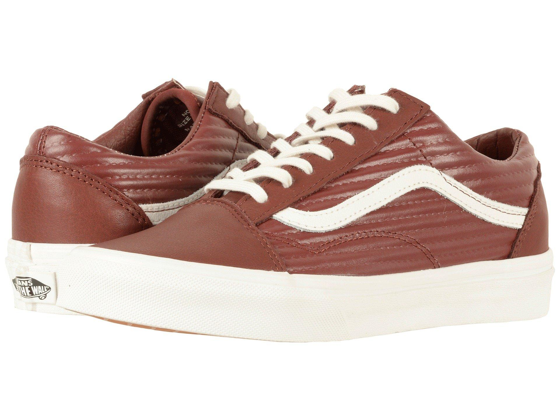 Vans Old Skool™, (moto Leather) Madder Brown/blanc De Blanc | ModeSens