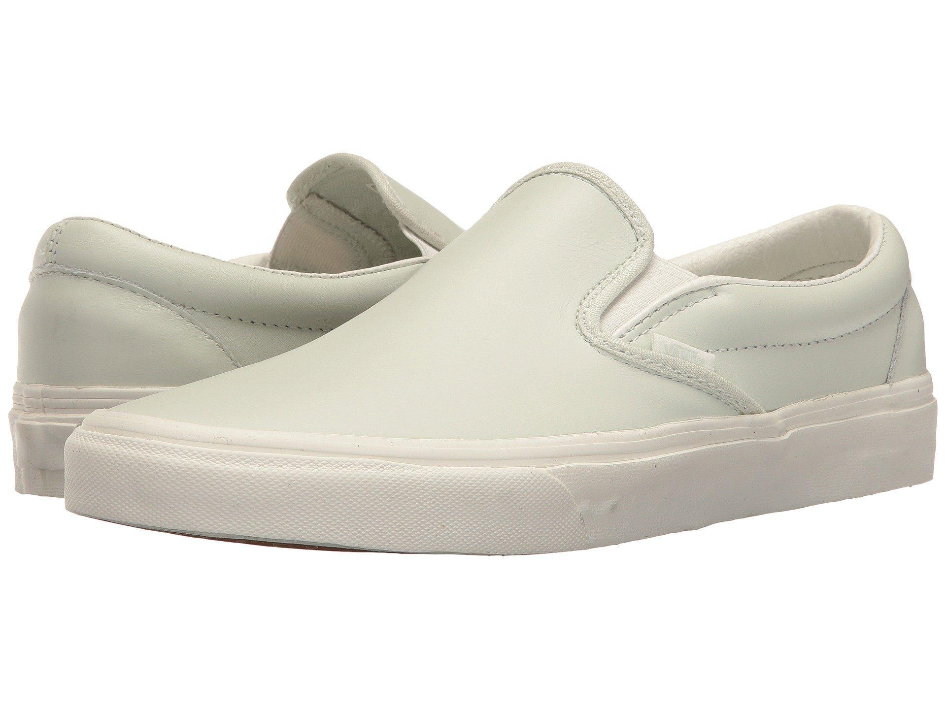 3d2de933ec Vans Classic Slip-On™ In (Leather) Zephyr Blue Blanc De Blanc