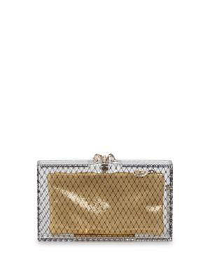 Charlotte Olympia Pandora Fishnet Box Clutch In Black