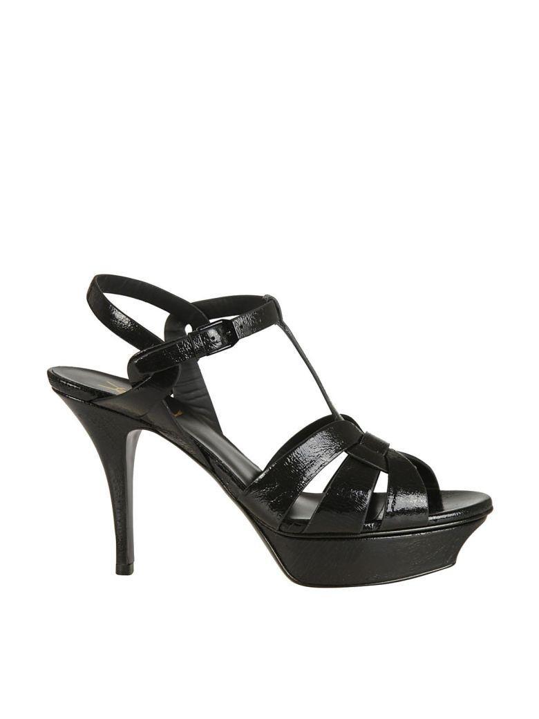 Saint Laurent High-Heel Buckle Ankle Sandals In Nero