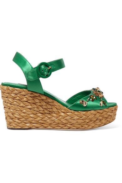 Dolce & Gabbana Woman Embellished Satin Wedge Sandals Green