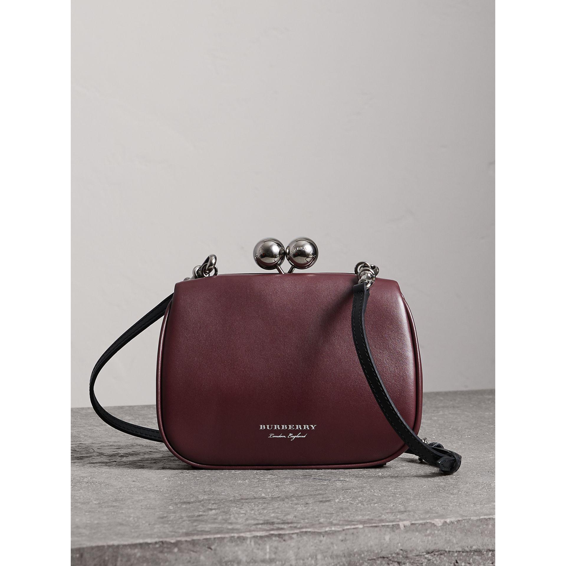 bb2fe3a15c Burberry Small Leather Metal Frame Clutch In Burgundy | ModeSens