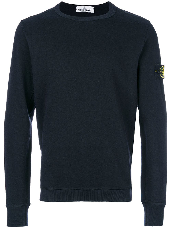 Stone Island Ogo-AppliquÉD Fleece-Back Cotton-Jersey Sweatshirt - Navy