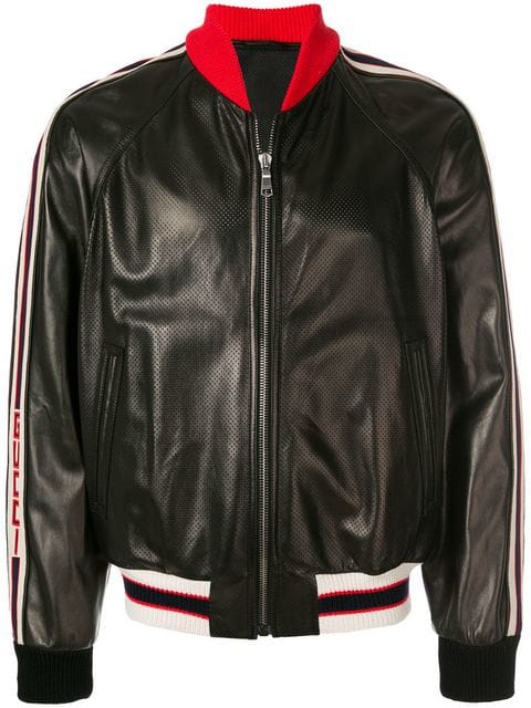 d72e7f169 Gucci Perforated Leather Bomber Jacket In Black | ModeSens