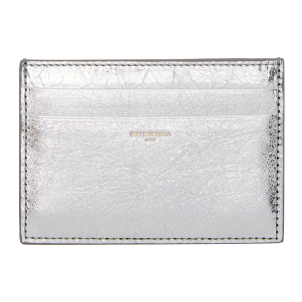Balenciaga Bazar Leather Cardholder In 1414 Silver