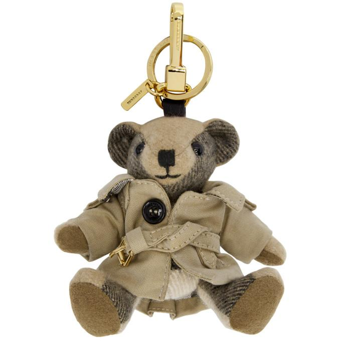 Burberry Thomas Trench Bear Charm In Camel