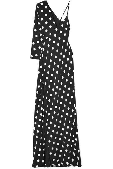 72a4c13f3022 Michelle Mason One-Shoulder Polka-Dot Silk Crepe De Chine Gown In Black