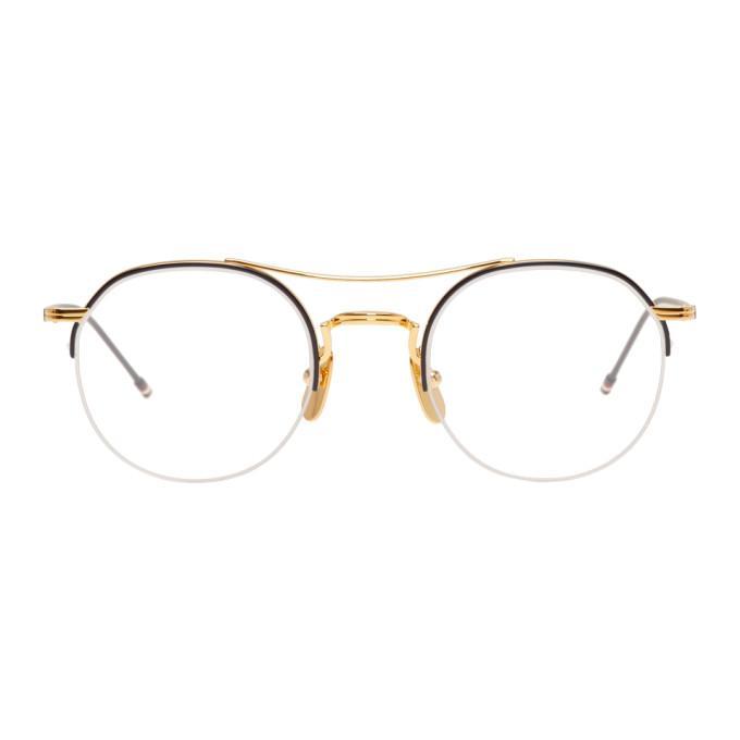 69bb6a79e Thom Browne Gold & Navy Tb-903 Glasses   ModeSens