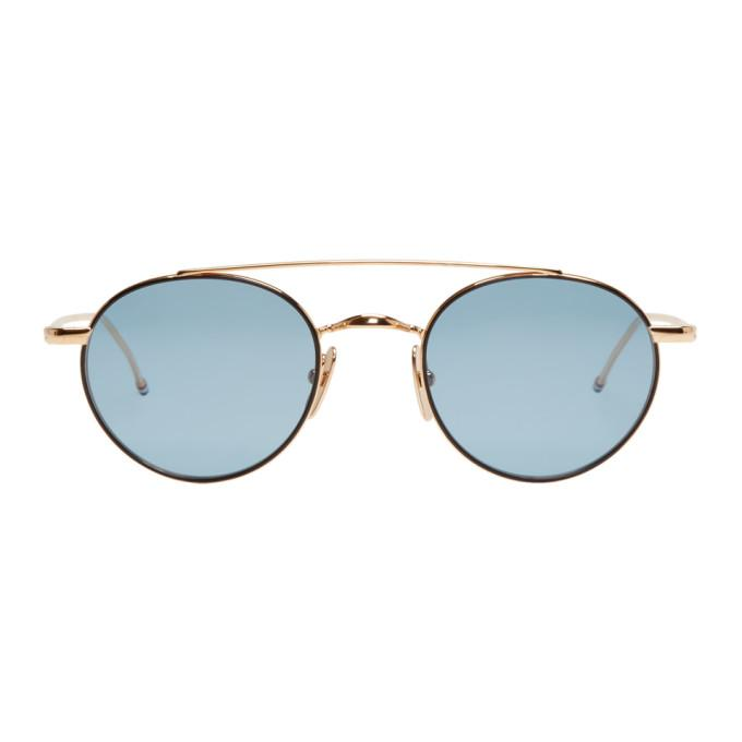 0d0c57b4971 Thom Browne Gold And Blue Tb-101 Round Sunglasses In Gold Blue ...
