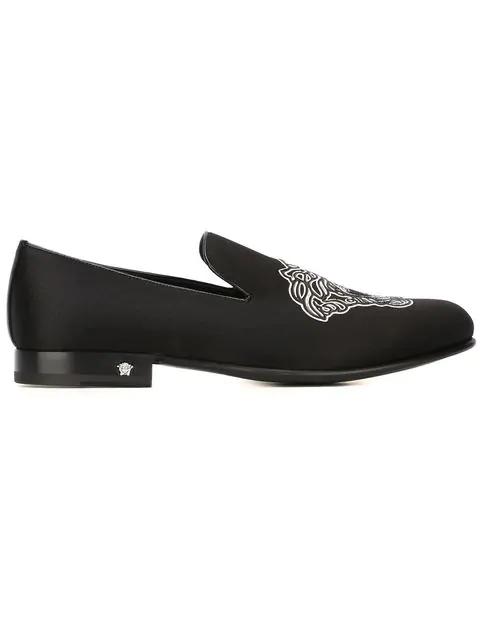 Versace Medusa Slippers In Black