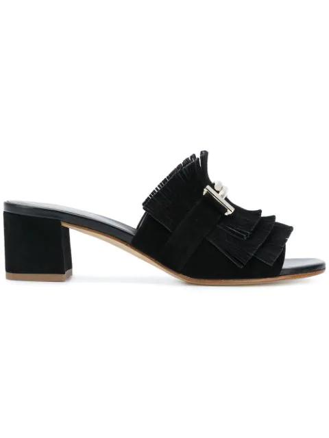 Tod's Women's Suede Heel Sandals Double T In Black