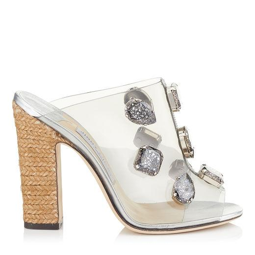 0fe848ccb74 Jimmy Choo Ling 110 Clear Plexi Mules With Jewels And Rope Wedge In Clear/ Crystal
