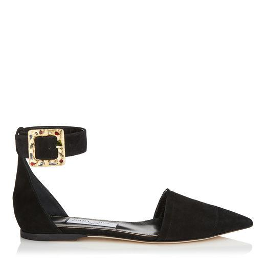 Jimmy Choo Halina Flat Black Suede Pointy Toe Flats With Jewelled Buckle
