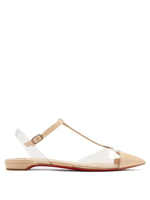 online retailer 06790 01f28 Nosy T-Bar Pointed-Toe Patent-Leather Flats in Nude-Beige