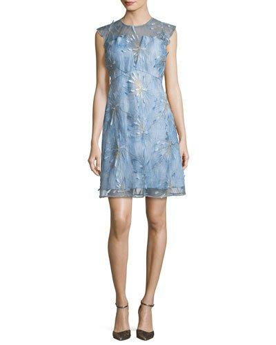 11f46c280029 Elie Tahari Olive Floral-AppliquÉ Linen Dress In Blue | ModeSens