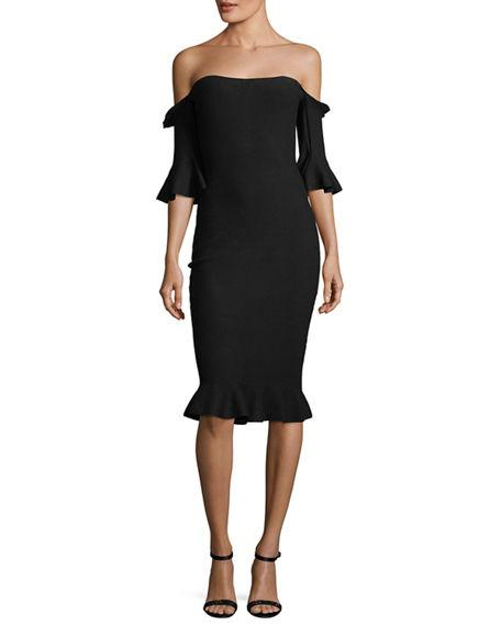 085ed2f08fdf PINTUCK OFF-THE-SHOULDER SHEATH DRESS. Milly stretch-knit dress with  pintuck trim.