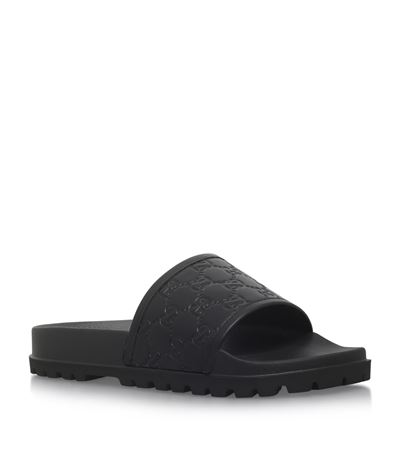 4d9f426634b Gucci Men s Pursuit Treck Embossed Leather Slide Sandals In Red ...