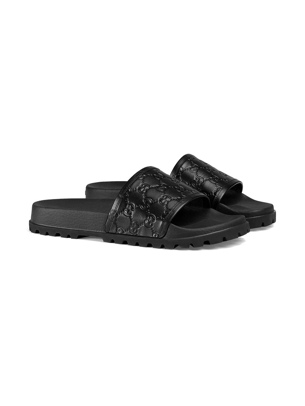 Gucci Pursuit Trek Leather Slider Sandals In 1000 Black