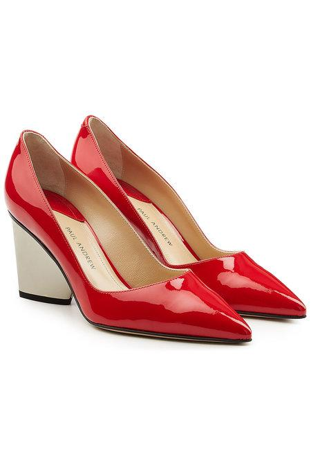 Paul Andrew Lotta Patent Leather Pumps In Red