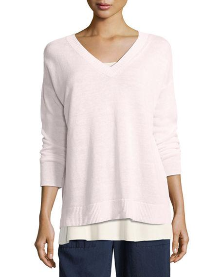Eileen Fisher Linen Knit V-Neck Top, Plus Size In Opal