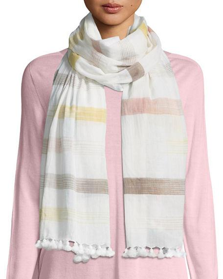 Eileen Fisher Hand-Loomed Organic Cotton Ikat-Striped Scarf In Mustard Seed