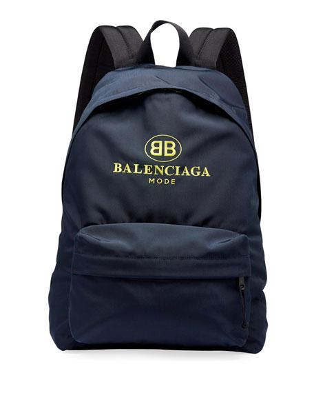 9fb473116c Balenciaga Men s Double-B Logo Backpack In Navy