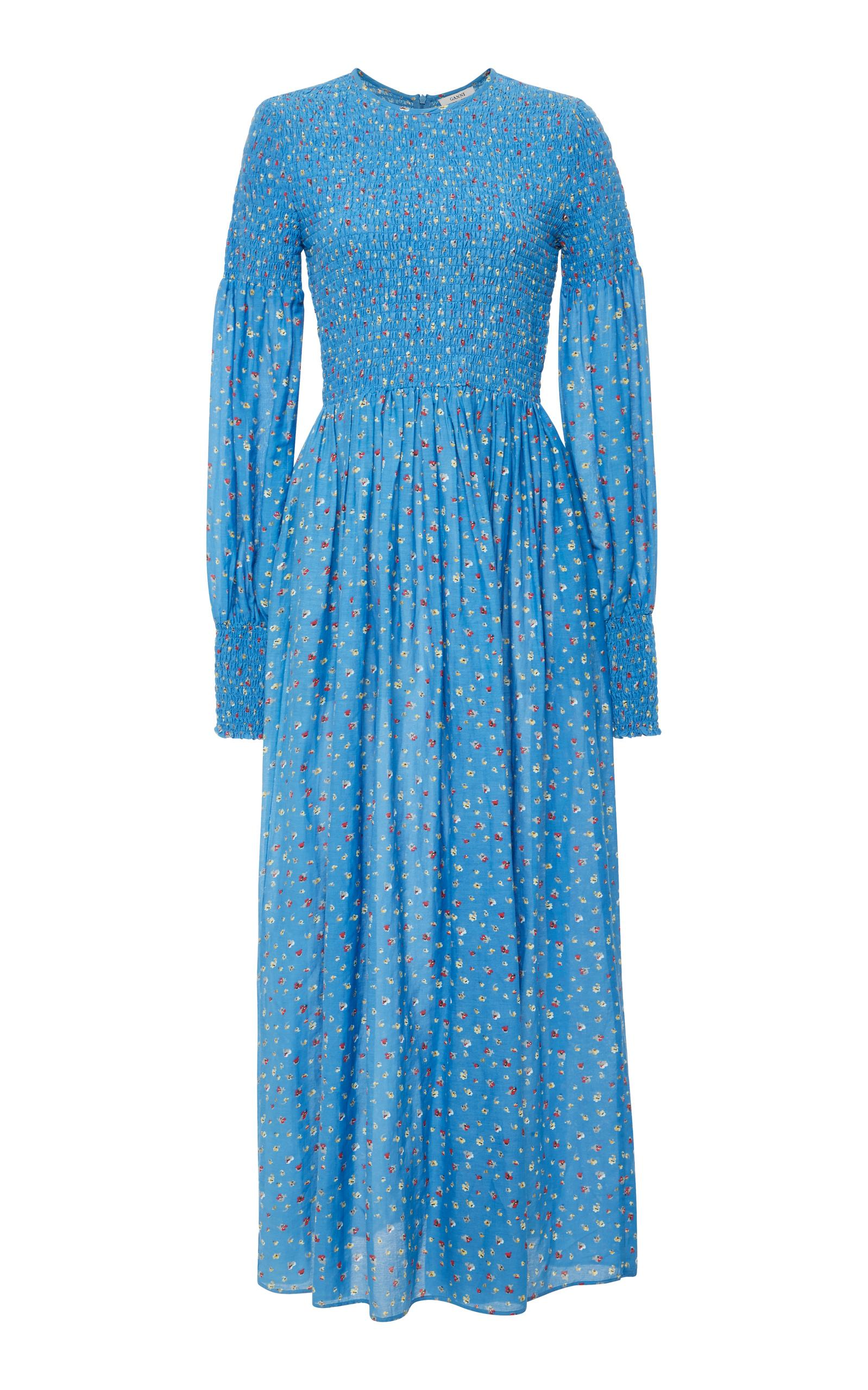 6da0b6f8 Ganni Beacon Smocked Cotton And Silk-Blend Maxi Dress In Blue | ModeSens