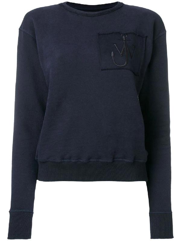 Jw Anderson Logo-embroidered Crew-neck Cotton Sweatshirt In Blue