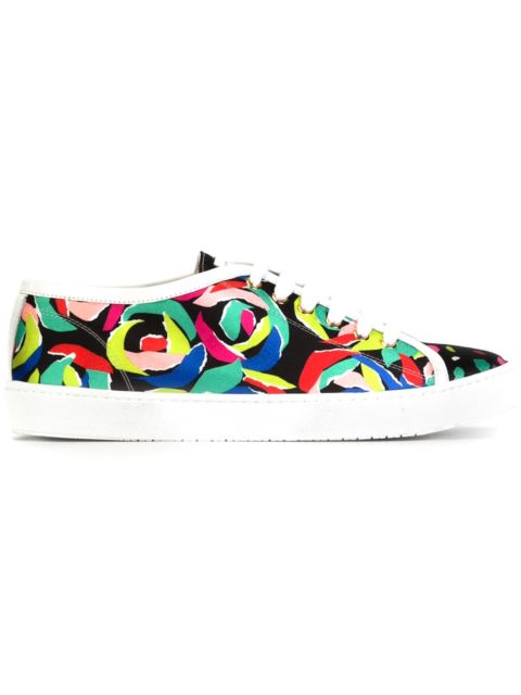 Boutique Moschino Printed Sneakers In Black