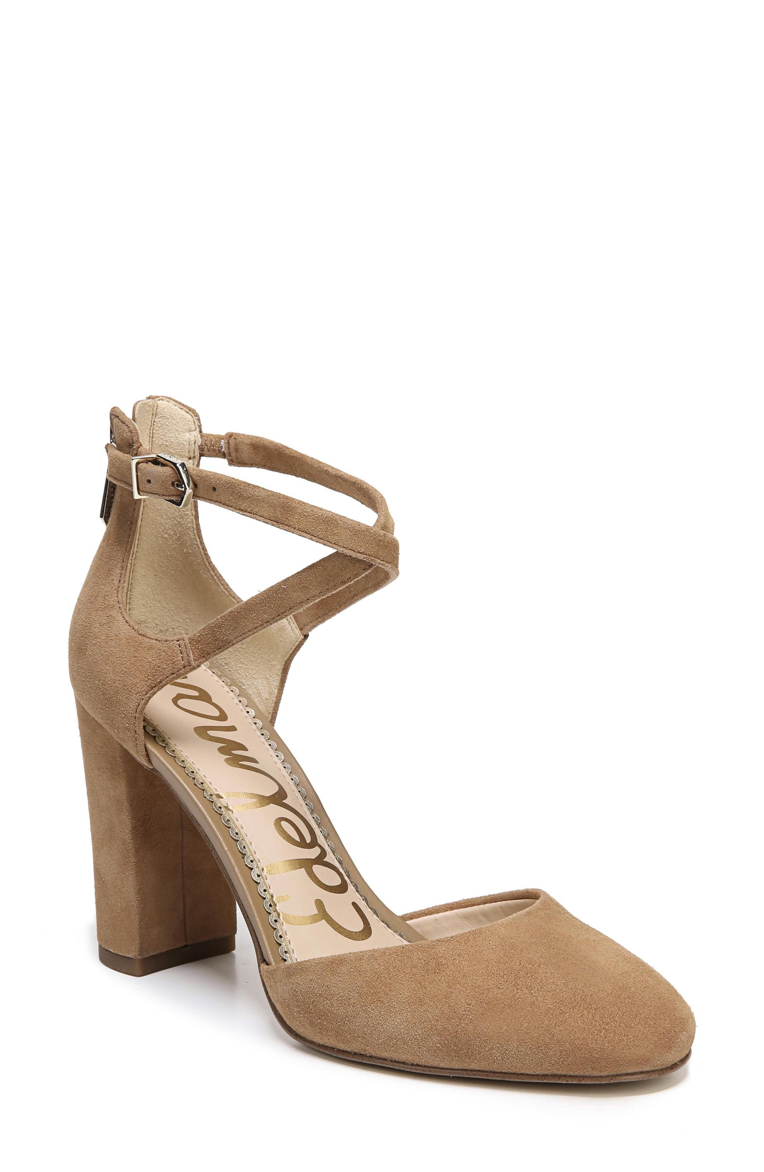 baca12ca8718f5 Slim straps cross at the ankle of a scene-stealing block-heel pump in a  classic round-toe silhouette. Style Name  Sam Edelman Simmons Pump (Women).