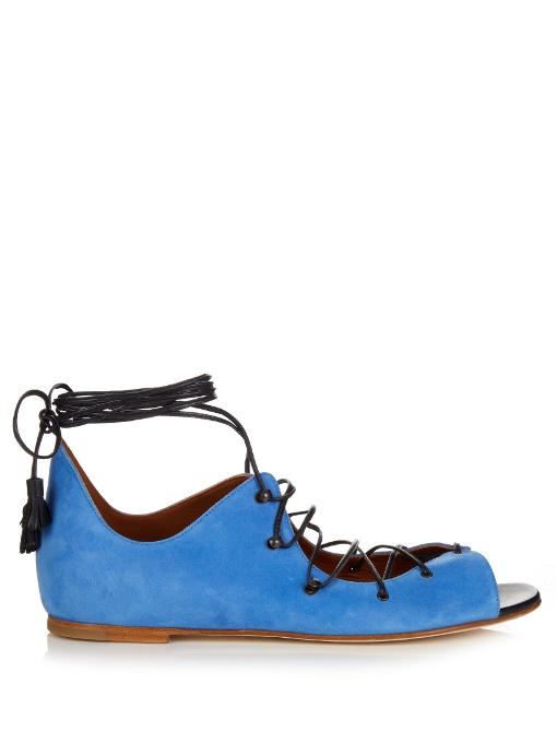 Malone Souliers Savannah Lace-Up Suede Sandals