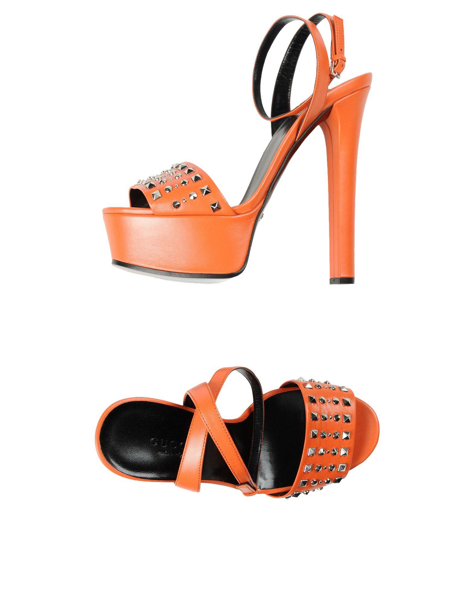 Gucci Studded Leather Platform Sandal In Neon