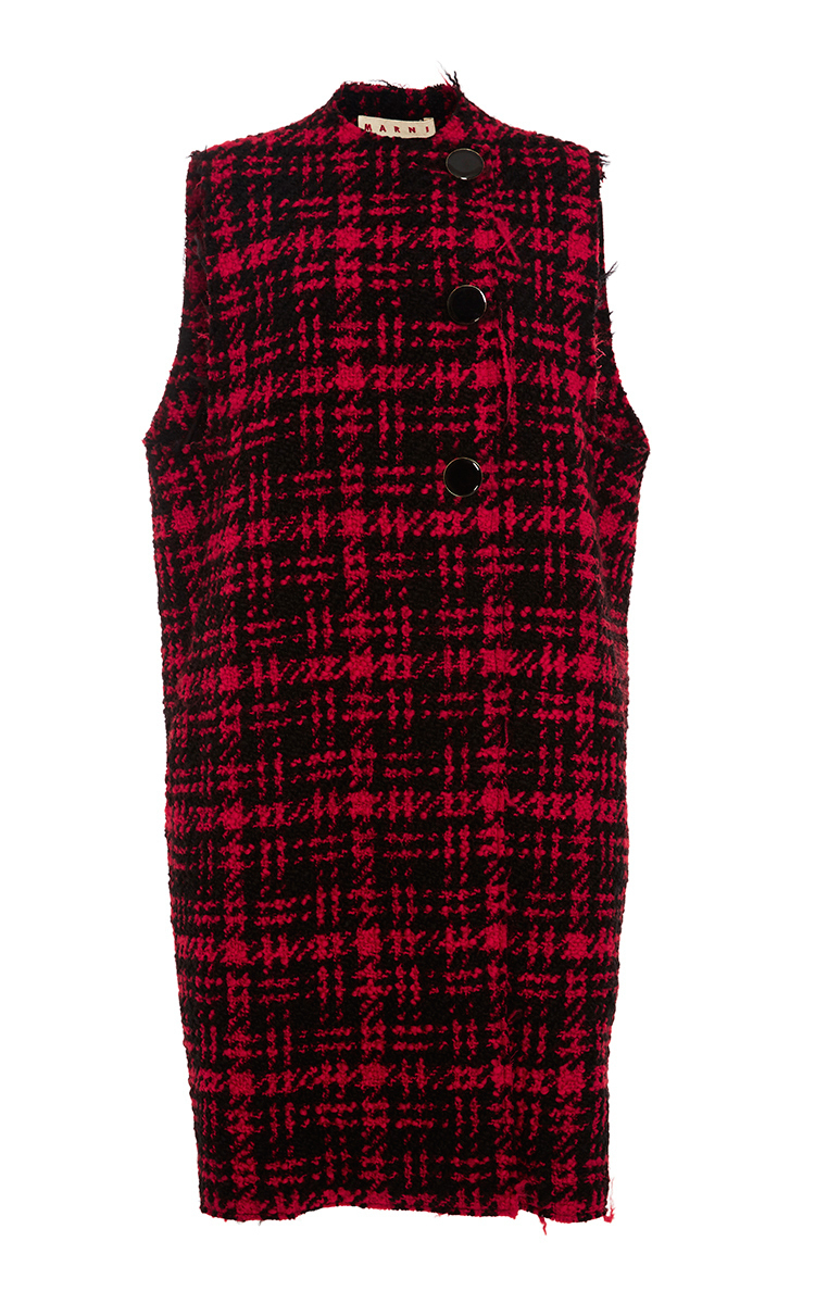 Marni Woman Checked Wool-blend Tweed Vest Red In Red|nero