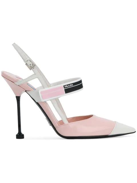 1ab0e34ca6e0 Prada Logo-Print Glossed-Leather Slingback Pumps In Baby Pink