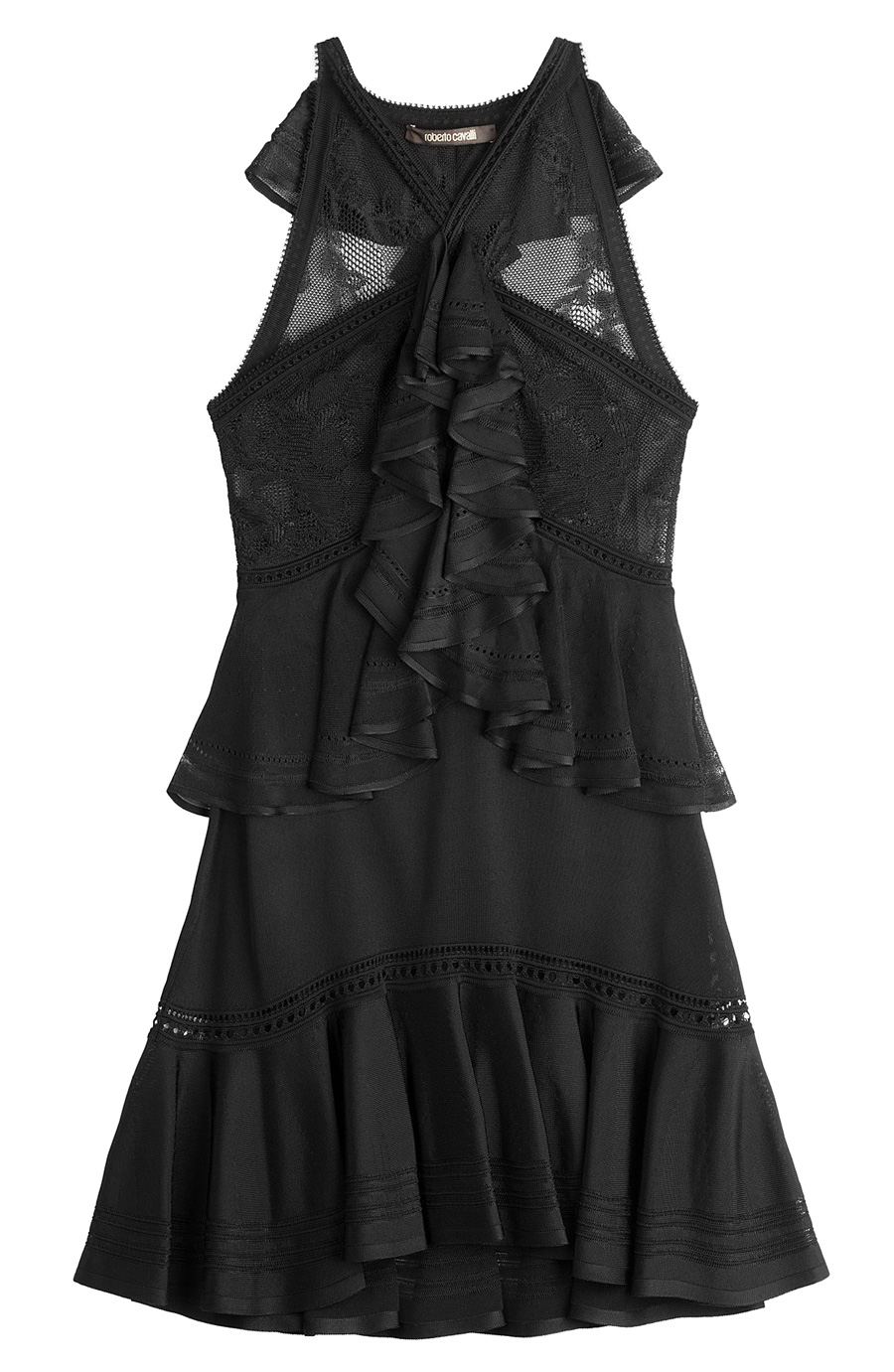 Roberto Cavalli Lace Panel Dress With Ruffles In Black