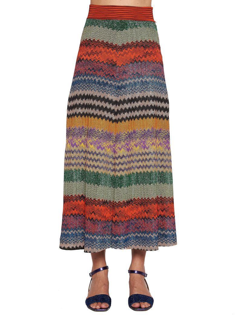 Missoni Metallic Crochet-Knit Midi Skirt In Red
